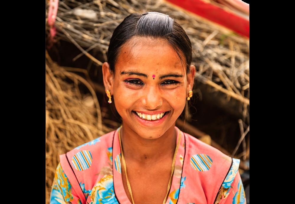 Portrait of young Indian girl in desert village near Jodhpur