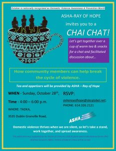 ASHA Ray of Hope is having another Chai Chat in the month of October to celebrate Domestic Violence Awareness Month.