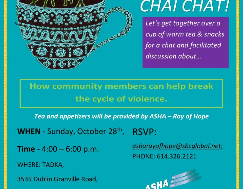 ASHA Ray of Hope is having another Chai Chat with the SriLankan community.