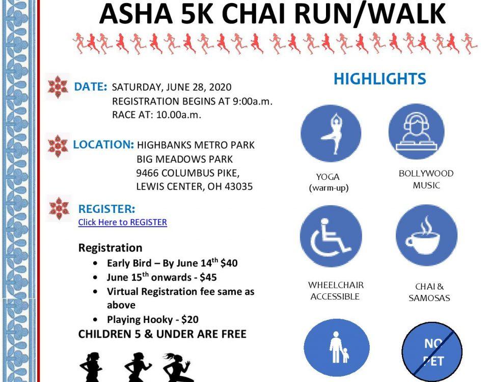 ASHA 2020 5k flyer